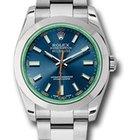 Rolex Milgauss Watch blue, dial green sapphire