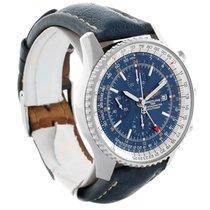 Breitling Navitimer World Chrono Gmt Blue Dial Steel Watch A24322
