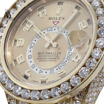 Rolex Sky-dweller 18k Yellow Gold 42mm Champagne Arabic Dial...