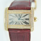 Cartier Tank Gold ,factory setted diamonds,Croco leather