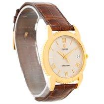 Concord Impresario 18k Yellow Gold Brown Strap Watch 50-c2-212