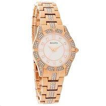 Bulova Crystal Ladies MOP Rose Gold Tone Bracelet Quartz Watch...
