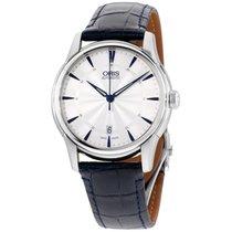 Oris Artelier Silver Dial Leather Strap Men's Watch...