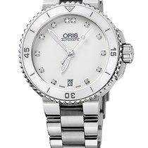 Oris Aquis Date Diamonds, White, Ceramic Top, Steel