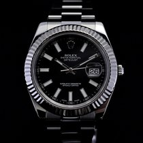 Rolex Datejust II 41mm White Gold Bezel Black Stick Dial 116334