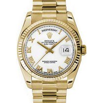 Rolex Day-Date 36 118238-WHTRFP White Roman Fluted Yellow Gold...