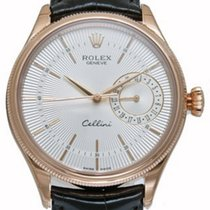 Rolex Cellini Time 50515 39mm White Silver Index Rose Gold...