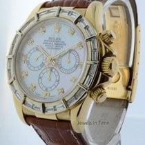 Rolex Daytona Chronograph 18k Gold Diamond Bezel Mens Watch 16518