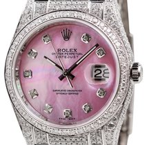 Rolex DateJust 36mm White Gold Diamond Set Pink MOP Dial...