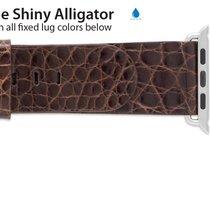 Apple Compatible 22mm Genuine Shiny Alligator Regular Length...