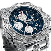 Breitling Diamond Breitling Super Avenger A13370 Blue Dial...