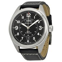 Hamilton Khaki Field Black Dial Black Leather Men's Watch