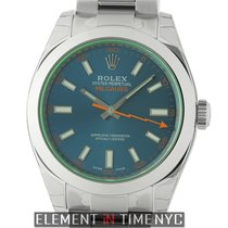 Rolex Milgauss Stainless Steel 40mm Green Crystal Z-Blue Dial...