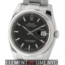 Rolex Datejust Steel 36mm Domed Bezel Black Index Dial Ref....