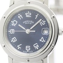 Hermès Polished Hermes Clipper Stainless Steel Quartz Ladies...
