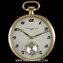 Patek Philippe 18k Yellow Gold Open Face Silver Arabic Dial...