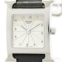 Hermès Polished Hermes H Watch Double Tour Steel Quartz Ladies...
