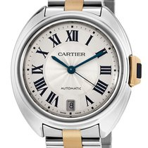 Cartier Cle 35MM Silver Dial 18K Rose Gold Steel Automatic...