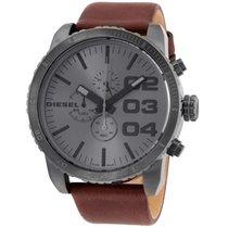Diesel Advanced Grey Dial Leather Strap Men's Watch Dz4210