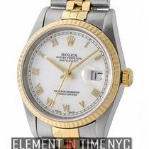 Rolex Datejust Steel & Yellow Gold 36mm White Roman Dial...