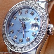 Rolex Datejust Ladies Steel Diamonds Blue Mother Of Pearl Dial...