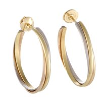 Cartier Trinity Large 18K Yellow White and Rose Gold Hoop...