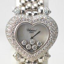 Chopard 18K White Gold Happy Sport Heart Case Floating Diamonds