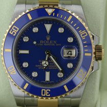 Rolex Submariner 116613 Ceramic Factory Blue Diamond Dial New...