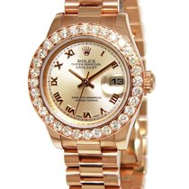 Rolex Ladies Datejust 18k Pink Rose Gold Diamond Automatic...