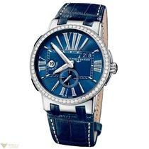 Ulysse Nardin Executive Dual Time Blue Diamonds Bezel Crocodil...