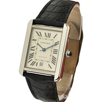 Cartier W5200027 Tank Solo Large Size - Steel on Black Leather...