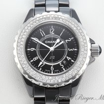 Chanel J12 Keramik Schwarz 33mm Diamanten