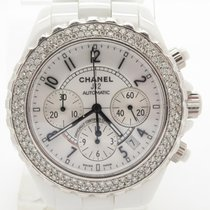 Chanel J12 Custom Diamond Bezel White Ceramic Chronograph...