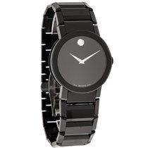 Movado Sapphire Black Tuxedo Bracelet Mens Swiss Quartz Watch...