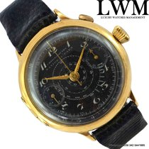 Gallet Chronograph Military black dial yellow gold 18KT 1910's