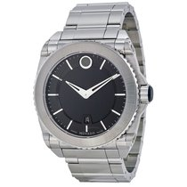Movado Master Black Dial Titanium Bezel Stainless Steel...