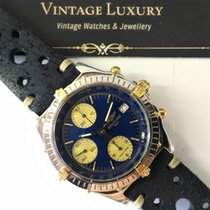 Breitling vintage Chronomat ref B 13050 Gold Steel Blu Dial