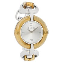 Gucci 132 Bamboo Ladies Stainless Steel Quartz Watch YA132403