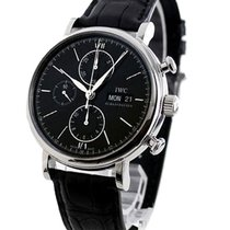 IWC IW391008 Portofino Chronograph - Steel on Black Leather...