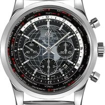 Breitling Transocean Chronograph Unitime GMT Mesh Steel Watch...
