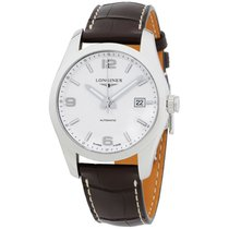 Longines Conquest Classic Silver Dial Leather Strap Men's...