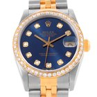 Rolex Datejust Midsize Steel Yellow Gold Diamond Bezel Watch...