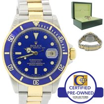 Rolex Submariner Two Tone Steel 18k Gold Blue SEL No Holes Watch