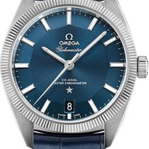 Omega Globemaster 39mm Blue Steel Leather 130.33.39.21.03.001 NEW