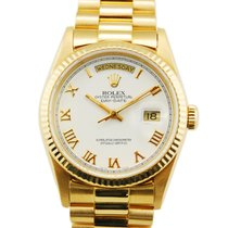 Rolex Day-Date President 18kt Yellow Gold White Roman Dial-18238