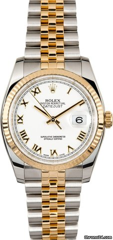 Rolex DATEJUST 116233 steel and yellow gold White Roman Dial