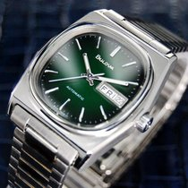 Bulova Day Date Automatic Stainless Steel Swiss 70s Watch 1160