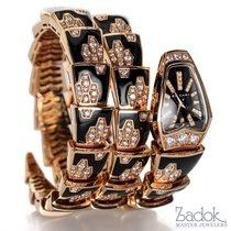 Bulgari 18k Rose Gold Diamond Serpenti Bracelet Watch 26mm...