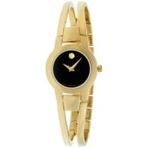 Movado Amorosa Stainless Steel Black Dial Gold Ladies Watch...