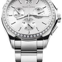 Maurice Lacroix Miros Chronographe Ladies Silver Dial, Diamond...